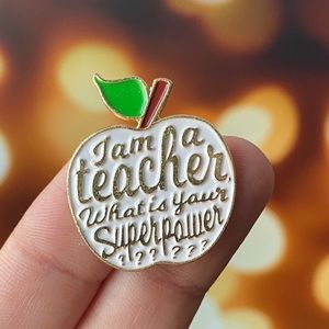 Teacher White Apple Enamel Pin/ Brooch